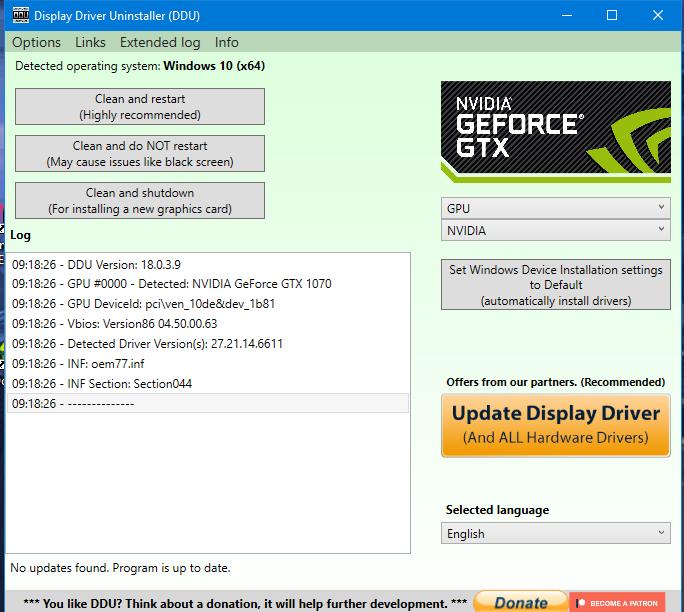 Display Driver Uninstaller menu panel