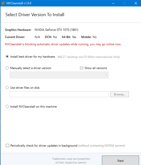 NVCleanstall drivers selection screen