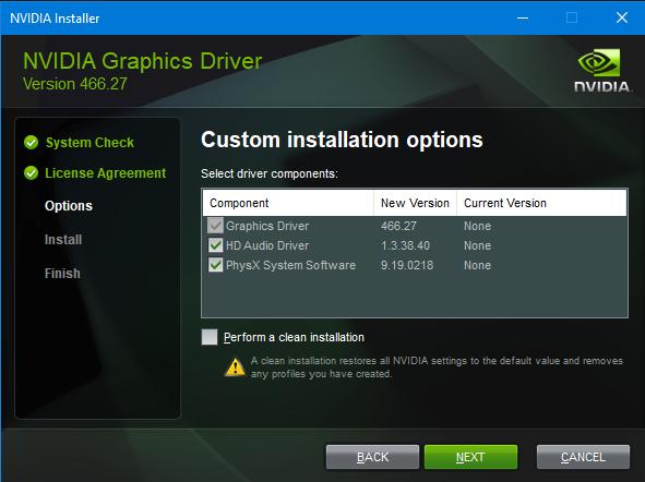 nVidia drivers installation screen