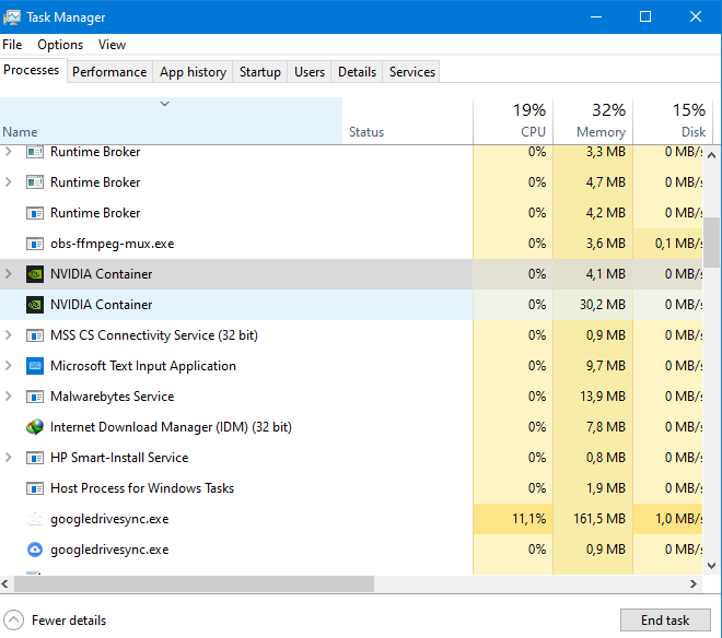 windows task manager list after