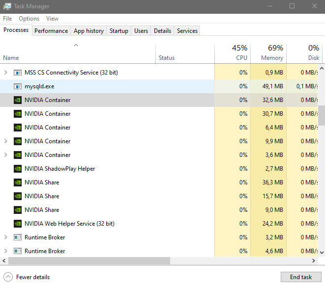 windows task manager list before