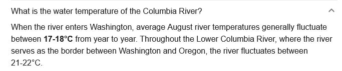 columbia river gorge water temperature